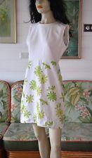 Vintage 1960's white & green flower dress Size 10  AUS