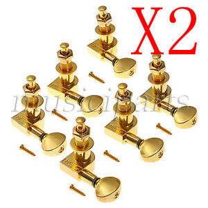 12Pcs Gold(6R) Tuners Guitar String Tuning Pegs Tuners Machine Heads Set