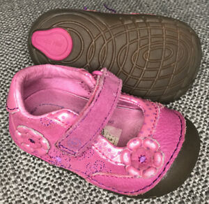 Stride Rite SRT SM Nancy Infant Toddler Girl's 3 Pink Leather Mary Jane SoftSole