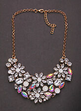 GLAMOROUS LUXURY CHOKER SPARKLY RHINESTONE FLOWERS OPALESCENT STONES (CL30)