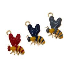 6 pcs Enamel Plated Mini Cute Honey Bee Look Metal Charms Pendants Findings