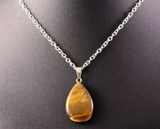 Tigers Eye Teardrop Pendant Necklace w/Free Jewelry Box and Shipping