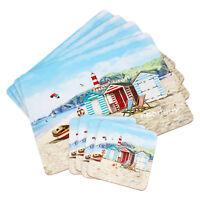 Set of 4 Placemats & Coasters Table Settings Mats Coastal Beach Hut Lighthouse