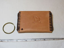 "Handmade leather coin key holder lite tan w/ brown 4"" X 2 3/4"" Horse"