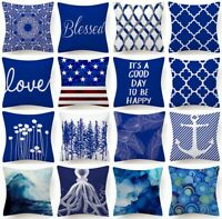 """Cushion COVER Blue White Double-Sided Soft Decorative Throw Pillow Case 18x18"""""""