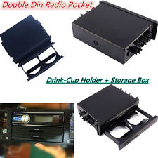 1x Double Din Radio Pocket Drink-Cup Holder +Storage Box for Universal Car truck
