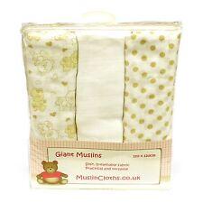 Paquete De 3 Paños de muselina Gigante - 120x120cm, Marrón, peluches y manchas de diseño, Reino Unido