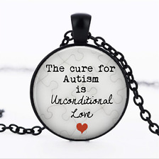 The Cure for Autism Black Glass Cabochon Necklace chain Pendant Wholesale