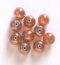 De 50: ronda 10mm lustered Perlas De Vidrio, NARANJA, para la fabricación de joyas y artesanías