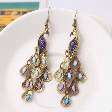 Retro Charming Boho Blue Rhinestone Peacock-Pattern Teardrop Tail Dangle Earring