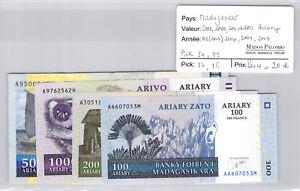 Madagascar Set 5000, 1000, 200 & 100 Ariary 2004 Pick 84 - 86 - 87 - 89