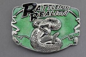 Men Women Silver Metal Belt Buckle Green Animal Rattlesnake Reality Wild Snake