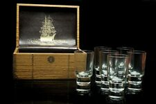 More details for set of six vintage shot glasses by appointment  of royal swedish court