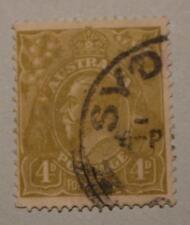 KGV 4d Olive SYDNEY Postmark C of A Watermark SG 129 ASC 118