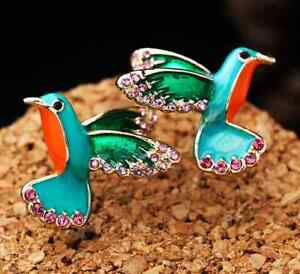 Colorful Flying HUMMINGBIRD Wings Rhinestone Blue Enamel Betsey Johnson Earrings