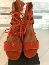 Coach Suede Lace Up Gladiator Sandals Cork