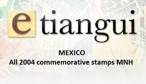 maz09 Mexico 2004 year complete, 33 commemorative  stamps SCV $ 45.55
