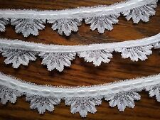 NEW WHITE 1 1/4 INCH WIDE FAN DESIGN VENISE LACE