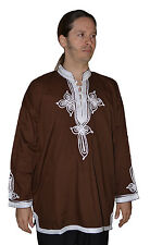 Moroccan Men Tunic Shirt Cafan Casual Handmade Embroidered  MED/LG Chocolate