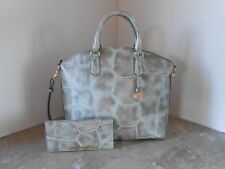 New BRAHMIN LARGE Duxbury PEWTER MAJORELLE Leather Satchel + ADY Wallet