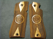 Star Model BM BKM Checkered+LOGO DblDiamond French Walnut Pistol Gun Grips NEW