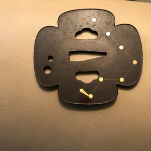 Antique Japanese Bronze Tsuba With Gold Inlaid Constellation