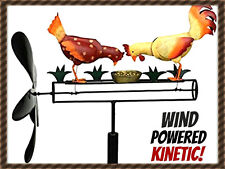 NEW PECKING CHICKEN & ROOSTER WHIRLIGIG  WIND POWERED KINETIC YARD DECO SPINNER