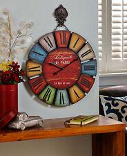 Rustic fleur-de-lis Oversized Medallion Wall Clock Roman Numerals Wooden Clock
