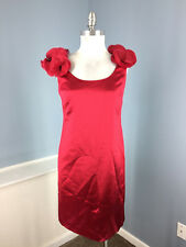 New Ann Taylor Red Satin Sheath dress Cocktail Formal Rosette XS 2 Textured WOW