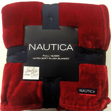 Nautica SOLID RED Plush Full QUEEN BED BLANKET Fleece velvet nautical 90x90 Soft