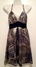 Women's ICE Shiny Gold Halter Animal Print Mini Party Coctail Dress Size M 10-12