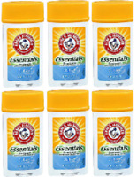 ARM & HAMMER Essentials Solid Deodorant, Clean, Wide Stick, 2.5 oz (6 Pack )