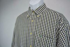 TOMMY HILFIGER Casual Button Front Shirt Long Sleeve Green/Navy Checked Mens L