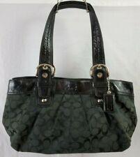 COACH Signature Pleated Leather and Canvas Shoulder Bag Boho Purse Black