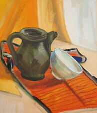 Vintage Gouache Painting Still Life With Cup