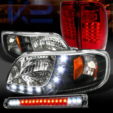 97-03 F150 Black SMD DRL Headlights+Red Lens Tail Lamps+Smoke LED 3rd Brake