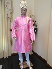 "40"" L 100cm Silk Sherwani Suit Indian Bollywood Mens Kurta Diwali Pink HL23"