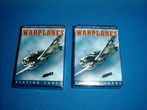 GREAT FIGHTING AIRCRAFT OF WORLD WAR II WARPLANES PLAYING CARDS - 2 PACKS - NEW