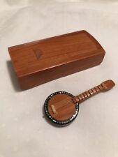 Tiny Wood Banjo Mother of Pearl Inlay Birds Dollhouse Miniature Mexican Wooden