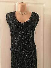 KAREN MILLEN BLACK BEADED TOP/SKIRT DRESS 8/10/12