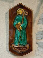 Ancien bas relief Saint Anselme céramique 1952 statue vintage Christianisme old