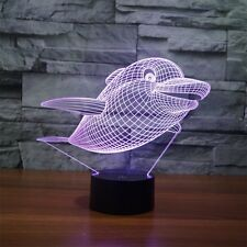 3D LED Night Light Kids Room 7 Color Lighting Dolphin Soothing Child Room Lamp