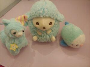 Amuse Blue Japanese Plush Lot Baby Wooly Sheep Alpacasso Alpaca Parakeet