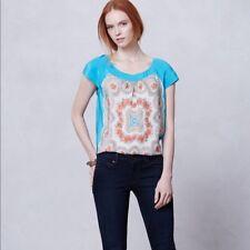 Anthropologie Moulinette Soeurs Silk Blouse Top Blue Paisley Fonte Floral Sz XS