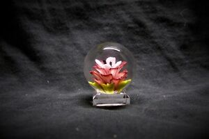 TJ art Glass red/white flower implosion Borosilicate marble