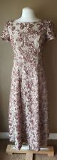Modest Evening Dress Womens S/M 6 Formal Wedding Beige Blush Rose Floral Spring
