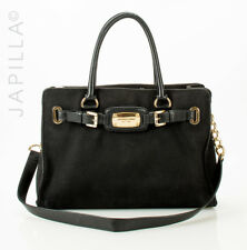 MICHAEL KORS BLACK CORDUROY SATCHEL HANDBAG PURSE