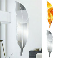 DIY 3D Feather Mirror Wall Stickers Vinyl Decals Art Decor Home Mural Removable