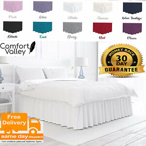 Plain Dyed Deep Fitted Valance Sheet Poly-Cotton Size Single Double King S King