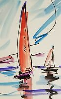 JOSE TRUJILLO - SAILBOATS ORIGINAL Watercolor Painting ABSTRACT ART - 6X9""